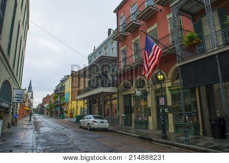 NEW ORLEANS - MAY. 31, 2017: Historic Buildings on Chartres Street between Toulouse Street and St Louis Street in French Quarter in New Orleans, Louisiana, USA.