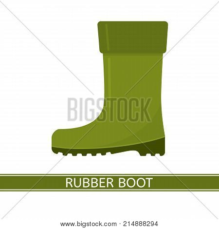 Vector illustration of waterproof rubber boot isolated on white background. Green rain boot in flat style. Gumboots for rainy weather fishing gardening