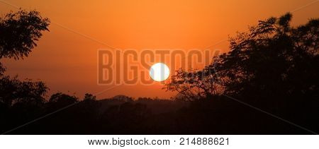 Sunset And Sun In Vinales Valley In Cuba
