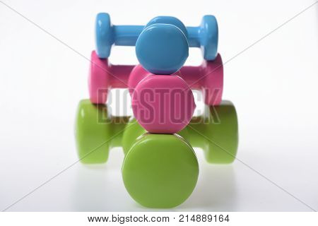 Healthy Lifestyle And Sports Concept. Barbells In Different Size