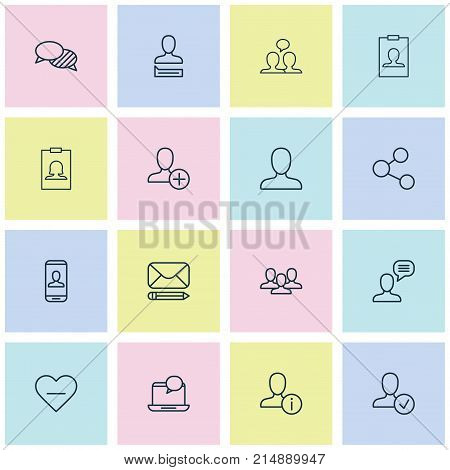 Communication Icons Set With Edit, Insert, Web Profile And Other Communication Elements. Isolated Vector Illustration Communication Icons.