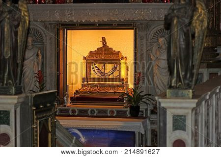 ROME, ITALY - DECEMBER 31, 2016: the reliquary contains the chains of Saint Peter in San Pietro in Vincoli (Saint Peter in Chains), roman catholic titular church and minor basilica in Rome