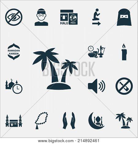Ramadan Icons Set With No Alcohol, Hejaz, Muslim And Other Namaz Place Elements. Isolated Vector Illustration Ramadan Icons.