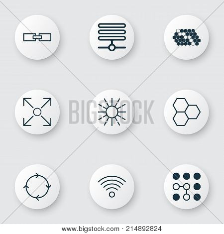 Machine Icons Set With Information Components, Computing Problems, Branching Program And Other Information Base Elements. Isolated Vector Illustration Machine Icons.