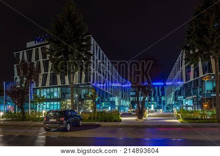 Gdynia, Poland - October 11, 2017: Modern Buildings Architecture Of Luzycka Office Park In Gdynia, P