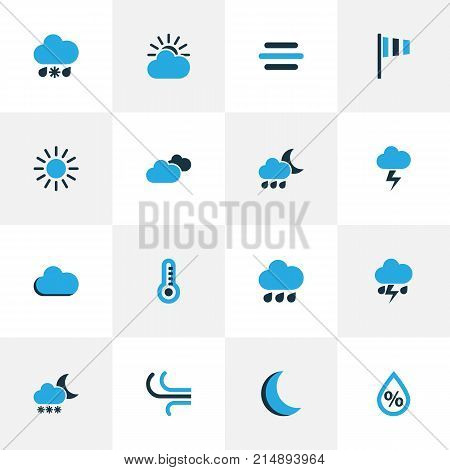 Climate Colorful Icons Set With Fog, Drizzle, Night And Other Blizzard Elements. Isolated Vector Illustration Climate Icons.