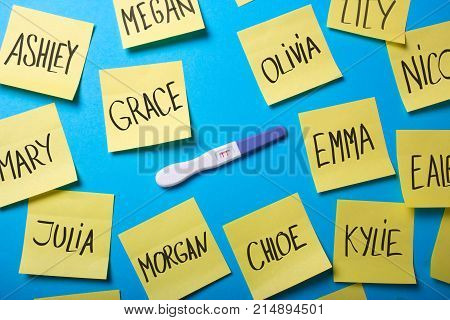 How to choose a name for the baby girl? Positive pregnancy test and office stickers and girl names