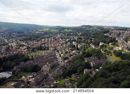 panoramic view of hebden bridge in west yorkshire england showing streets houses and surrounding countryside