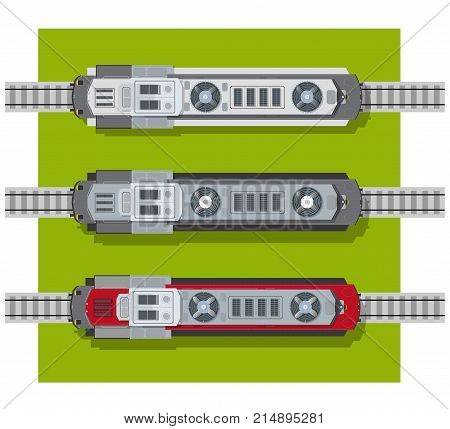 Electric locomotive of railways top view from above. Transport elements for building a city plan
