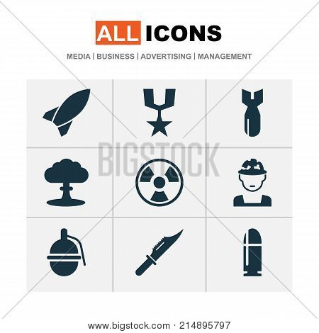 Combat Icons Set With Order, Rocket, Slug And Other Dangerous  Elements. Isolated Vector Illustration Combat Icons.