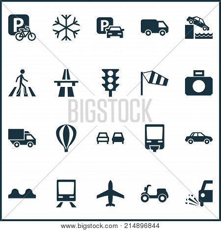 Transport Icons Set With Freeway, Parking For Bike, Pedestrian And Other Airship Elements. Isolated Vector Illustration Transport Icons.