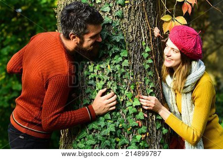 Dating And Autumn Love. Man And Woman With Happy Faces