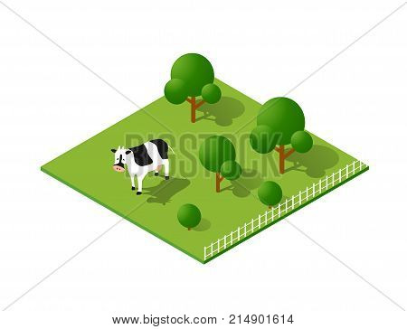 Rural countryside ecological landscape farm with cow
