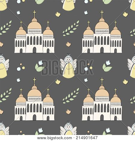 Vectron Seamless Pattern Of Elements Drawn Manually In The Style Of Doodle. Christening, Infant, Rel