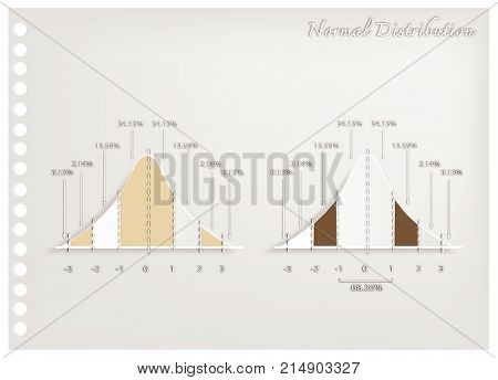 Business and Marketing Concepts, Illustration Paper Art Craft of 2 Gaussian Bell Curve Diagrams or Normal Distribution Curves Used in The Natural Sciences, Social Sciences and Business.