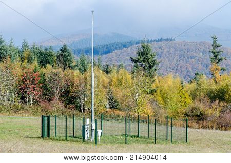 A meteorological station at the top of Beaujolais hills France