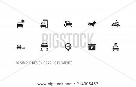 Set Of 10 Editable Vehicle Icons. Includes Symbols Such As Automotive Fix, Pinpoint, Vehicle Wash And More