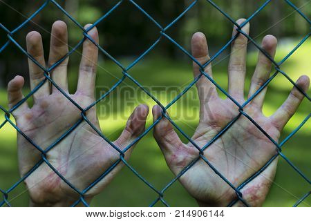 Man hands in jail. Imprisonment. Poverty suffering.