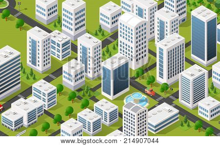 Isometric 3D metropolis city quarter with streets, skyscrapers, trees and houses. Urban landscape top view
