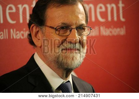 Barcelona, Spain - November 22, 2017: Spanish premier Mariano Rajoy in first appearance in Catalonia as president of Spanish government after the application of the article 155 of Spanish constitution that suspended Catalonia's autonomy