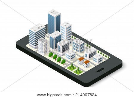 Isometric 3D navigation sign on mobile phone city urban map indicating the location and direction
