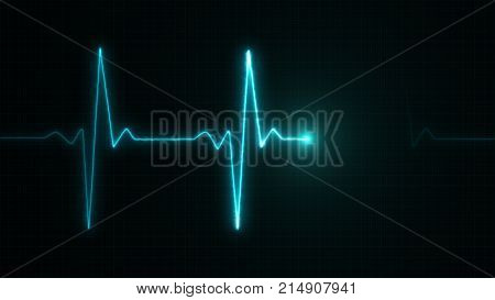 Cardiogram Cardiograph Oscilloscope Screen Blue Illustration Background