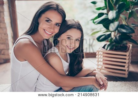 My Little Daughter Looks Like Me, She Is My Little Princess! Photo Of Young Charming Mother And Her