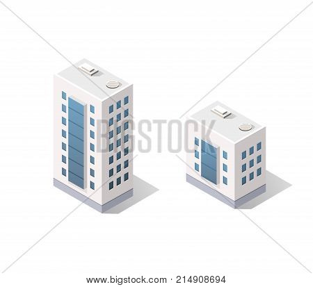 3D isometric dimensional city building house is a dwelling for tenants