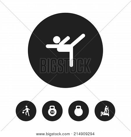 Set Of 5 Editable Training Icons. Includes Symbols Such As Acrobatics, Strength, Weightiness And More