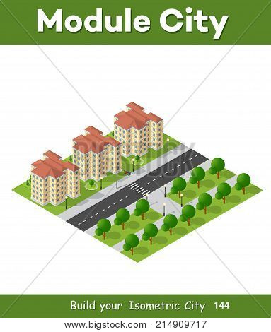 Isometric 3D landscape top view building of modern city architecture of area urban construction. Drawing map engineering design