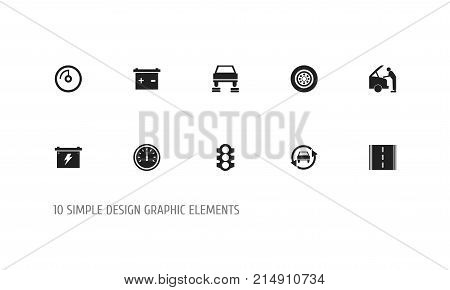 Set Of 10 Editable Transport Icons. Includes Symbols Such As Odometer, Speed Display, Mechanic And More