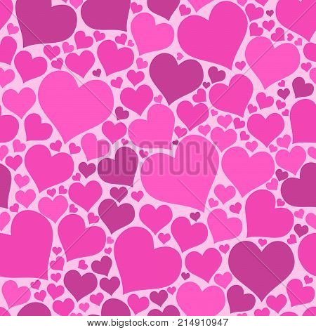 Color hearts on white background. Vector chaotic seamless pattern. Pink big and small hearts. Bright pattern with hearts for fabric or design project.