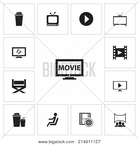 Set Of 13 Editable Movie Icons. Includes Symbols Such As Popcorn, Display, Camera Strip And More