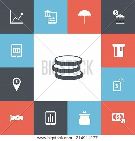 Set Of 13 Editable Finance Icons. Includes Symbols Such As Transfer, Exchange Center, Market And More