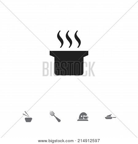 Set Of 5 Editable Meal Icons. Includes Symbols Such As Soup Pot, Silverware, Sashimi And More