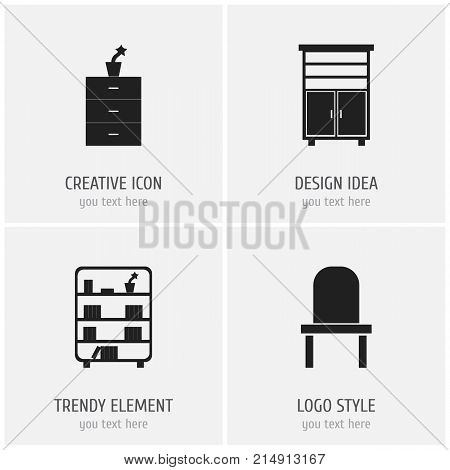 Set Of 4 Editable Furnishings Icons. Includes Symbols Such As Locker, Lectern, Plant Pot And More