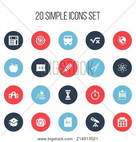 Set Of 20 Editable Knowledge Icons. Includes Symbols Such As Page, Telescope, Calculate And More