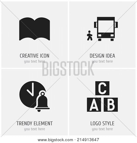 Set Of 4 Editable Teach Icons. Includes Symbols Such As Omnibus With Child, Alphabet Cube, Dictionary And More