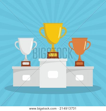 Competition winners podium with gold silver and bronze trophy cups in flat style. Winner sport silver cup and gold vector illustration