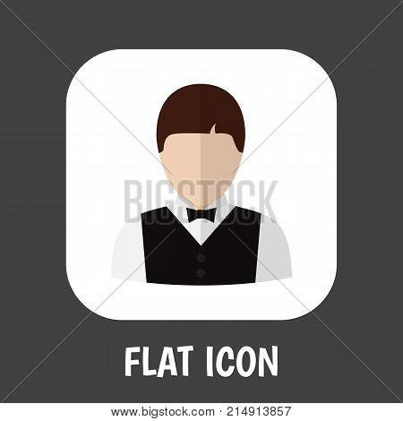 Vector Illustration Of Occupation Symbol On Servant Flat Icon