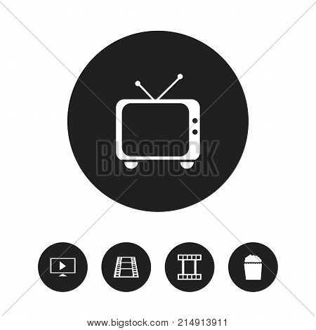 Set Of 5 Editable Movie Icons. Includes Symbols Such As Telly, Filmstrip, Camera Strip And More
