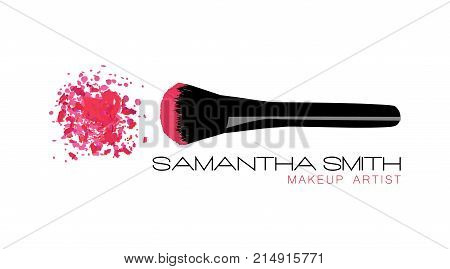 Makeup Artist Business Card. Vector Template With Pink Crumbled Face Cosmetic Powder Blusher With Bl