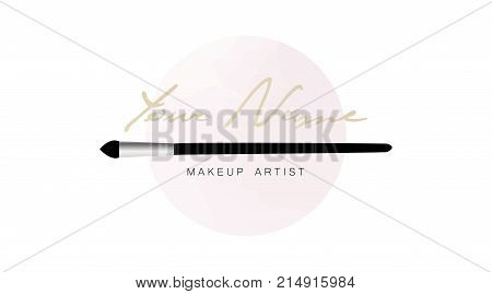 Makeup Artist Business Card. Vector Logo Template With Makeup Brush Applicator On The Background Of