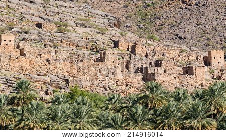 Abandoned village ruins of Riwaygh as-Safil in Necrosis valley - Sultanate of Oman
