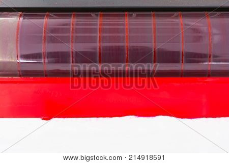 Offset Color Rollers Cmyk Print Machine Closeup Detail Industrial Equipment Pure Magenta