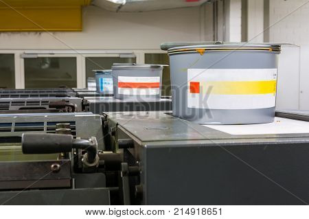 Offset Printing Inks Tubs Containers Closed Industrial Equipment Printshop Engineering Industry Lith