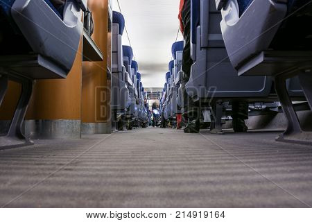 Bullet Train Interior Carpet Floor Chairs Modern Design Transportation European White Blue