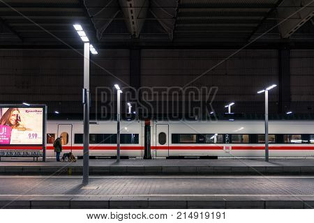 Deutsche Bahn Ice Bullet Train Closeup Side Train Station Parked Winter 2017 In Munich, Germany Haup