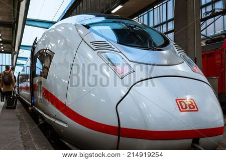 Deutsche Bahn Ice Bullet Train Closeup Side Train Station Parked Winter 2017 In Stuttgart, Germany H