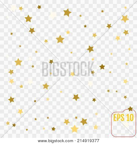 Gold Glitter Confetti Stars Background. Scatter On Top Made Of G